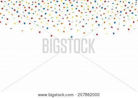 Colorful Confetti. Festive Background With Red, Golden And Blue Confetti. Falling Confetti Isolated