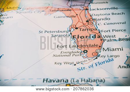 Florida Map On The Map, The Concept Of Travel.