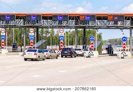 Moscow Russia - July 16 2017: Automatic point of payment on a toll road. Russian highway number M11