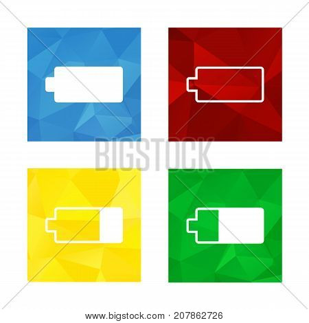 Colorful triangular low poly button in square shape with flat icon representing battery blue for full red for empty green for almost full yellow for almost empty