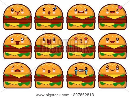 Emoticon hamburger kawaii face on a white background. Different emotions collection. Emoticon vector illustration.Fast food burger.