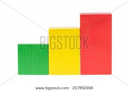 Wooden building blocks like raffic light green, yellow, red for kids isolated on white background