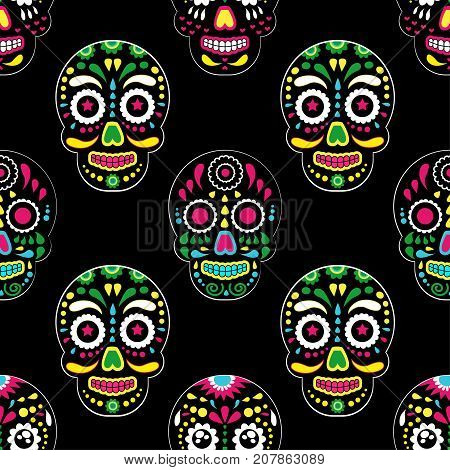 Day of The Dead colorful sugar skull with floral ornament and flower seamless pattern. Dia de los muertos skull the pattern is made in bright colors colorful skulls for the holiday of the dead