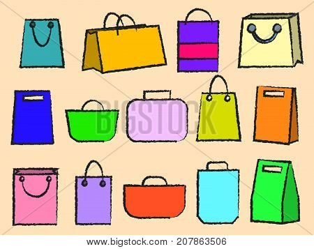 Assortment of color bags. Vector icon set of various bags Baggage theme icons. Collection of Travel bags illustration