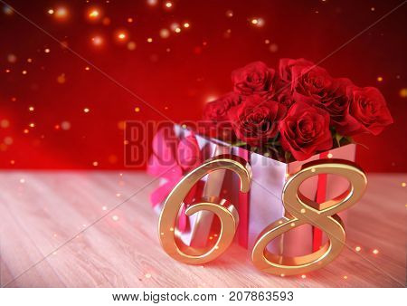 birthday concept with red roses in gift on wooden desk. 3D render - sixty-eighth birthday. 68th