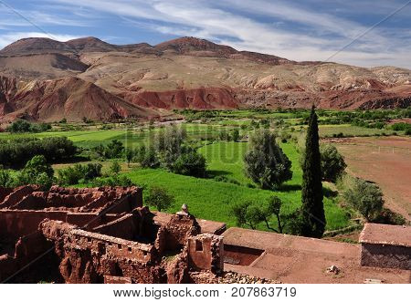 Ruins of the Telouet Fortress with the High Atlas Mountains
