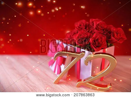birthday concept with red roses in gift on wooden desk. 3D render - seventy-second birthday. 72nd