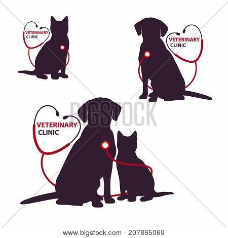 Veterinary clinic logo template with cat and dog. Vector Illustration.