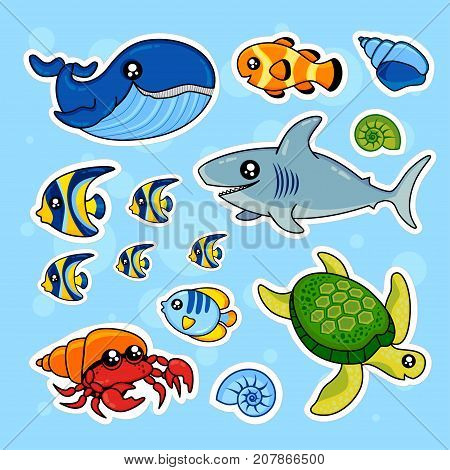 Fashion patch badges with whale turtle fish seashells crab sea and other. Very large set of girlish and boyish stickers patches in cartoon isolated.Trendy print for backpacks thingsclothes