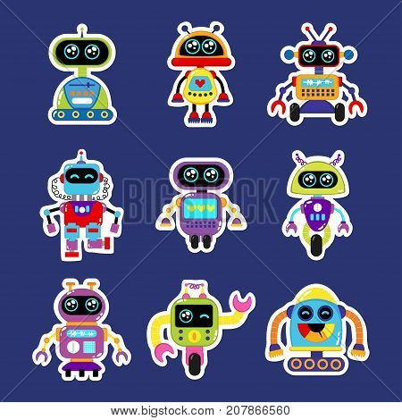 Fashion patch badges with robot robotics android toy robot with cute eyes Very robot large set of girlish and boyish stickers patches in cartoon isolated.Trendy robot print for backpacks thingsclothes