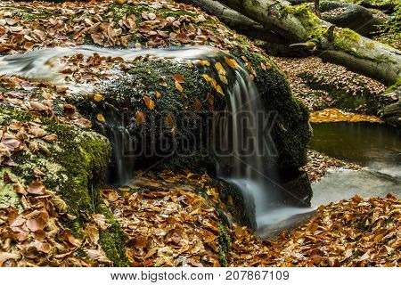 Waterfall falling on stones through autumn forest. Fall nature specification.