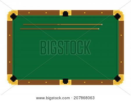 Pixel art green billiard table with cue on white background isolated
