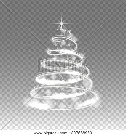 Illumination lights tree isolated on transparent background. Shiny Christmas tree from the garland.Template design. Christmas fir-tree with sparks.Vector illustration