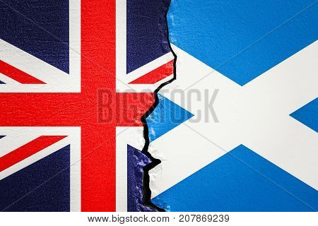 Great Britain and Scotland exit and independence concept 3D rendering