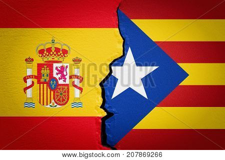 Spain and Catalonia independence concept. 3D rendering