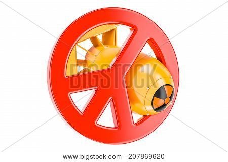 Nuclear weapons prohibition concept 3D rendering isolated on white background