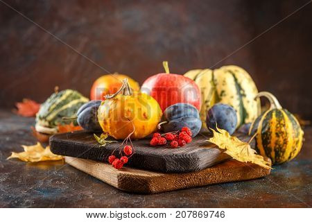 Autumn still life with vegetables and fruits - pumpkins apples plums nd yellow leaves