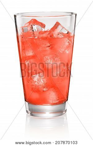 Glass Of Red Soda Isolated