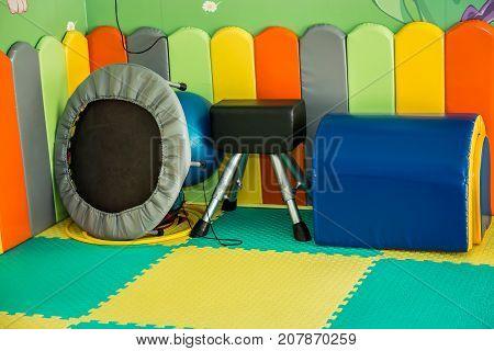 Children's indoor playground with gym equipment playground set trampoline