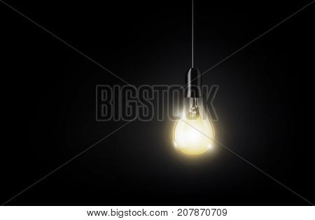 Glowing light bulb is hanging on dark black background for copy space, isolated, transparent vector illustration