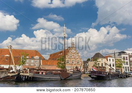 Old Wooden Ships In The Center Of Historic Leiden