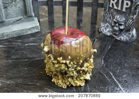 Caramel Apple With Tombstones