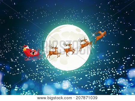 Merry Christmas and Happy New Year, Santa Claus drives sleigh with reindeer on the starry sky, flat cartoon style, vector illustration