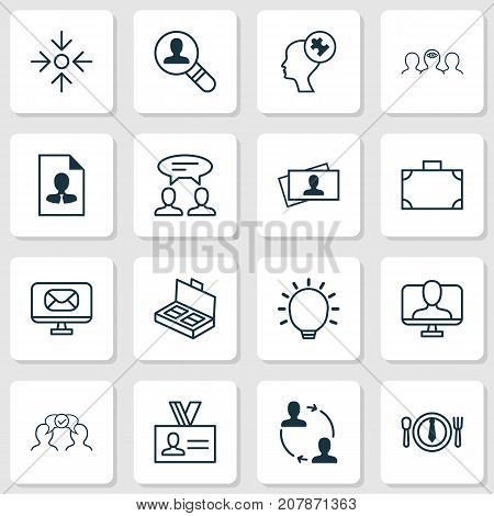 Corporate Icons Set. Collection Of Email, Dinner, Portfolio And Other Elements