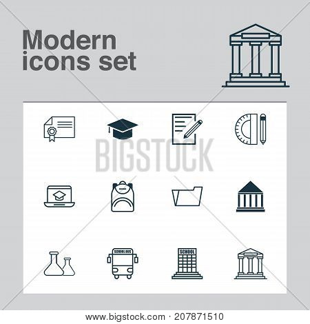 Education Icons Set. Collection Of Education Center, Education Tools, Diploma And Other Elements
