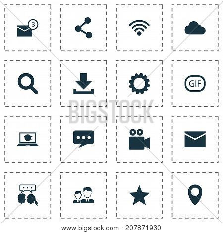 Media Icons Set. Collection Of Overcast, Gif Sticker, Star And Other Elements