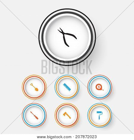 Tools Icons Set. Collection Of Ruler, Axe, Round Pliers And Other Elements