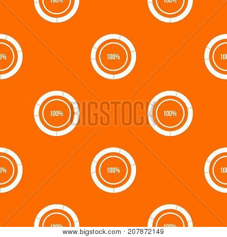 Diagram pie chart pattern repeat seamless in orange color for any design. Vector geometric illustration