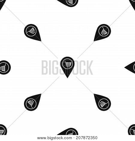Geo tag with shopping cart symbol pattern repeat seamless in black color for any design. Vector geometric illustration