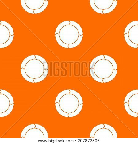 Diagram pie chart with arrows pattern repeat seamless in orange color for any design. Vector geometric illustration