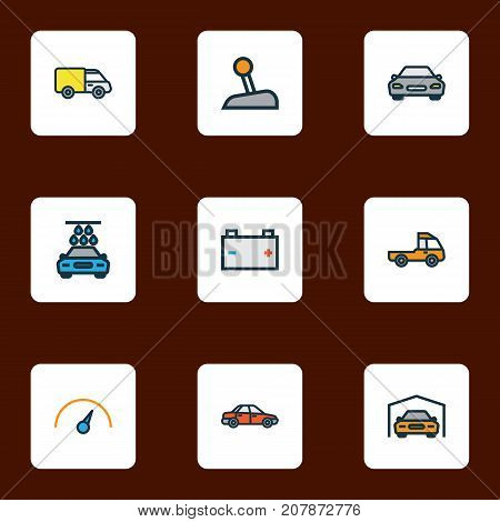 Automobile Colorful Outline Icons Set. Collection Of Car, Accumulator, Truck And Other Elements