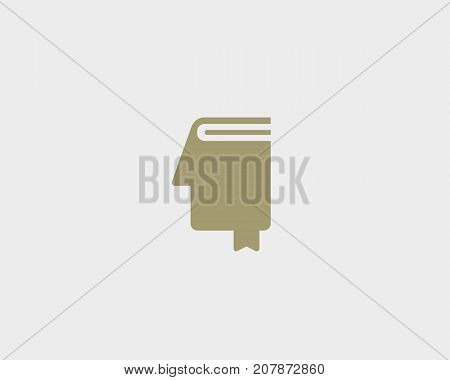 Creative idea book logotype. Head brain education logo. Face bookmark vector symbol icon.