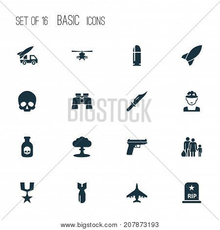 Warfare Icons Set. Collection Of Order, Missile, Atom And Other Elements