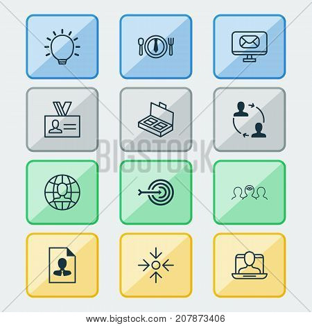 Corporate Icons Set. Collection Of Dinner, Authentication, Email And Other Elements