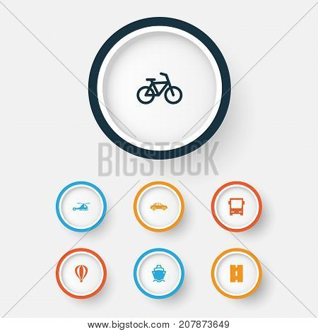 Transport Icons Set. Collection Of Omnibus, Way, Bicycle And Other Elements
