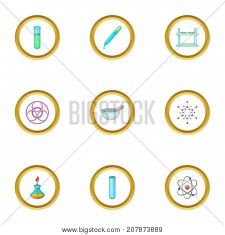 Chemical experience icons set. Cartoon style set of 9 chemical experience vector icons for web design