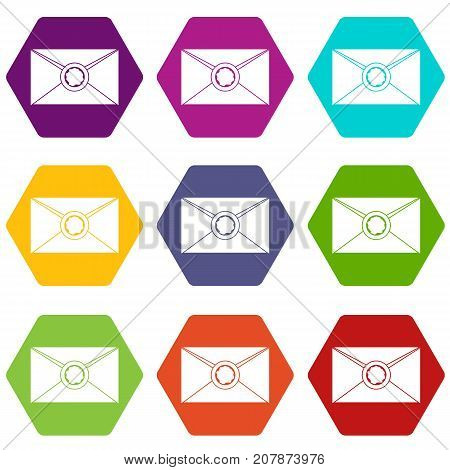 Envelope with red wax seal icon set many color hexahedron isolated on white vector illustration