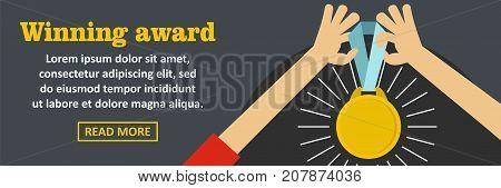 Winning award banner horizontal concept. Flat illustration of winning award banner horizontal vector concept for web design