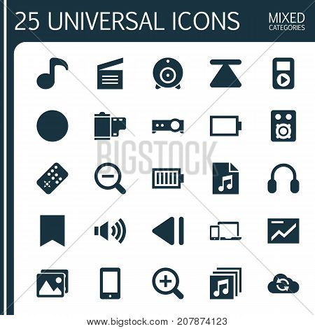 Media Icons Set. Collection Of Eject, Broadcast, Full Battery And Other Elements