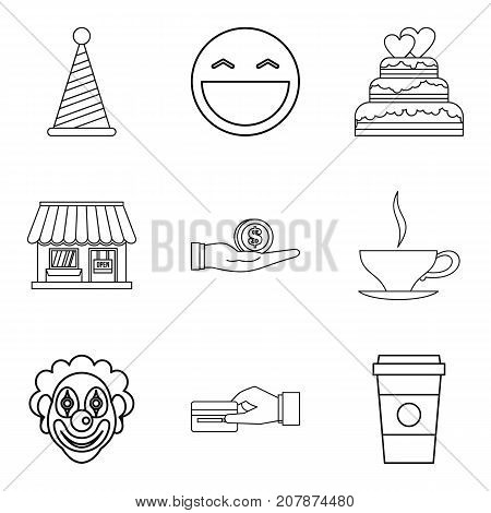 Private bakery icons set. Outline set of 9 private bakery vector icons for web isolated on white background
