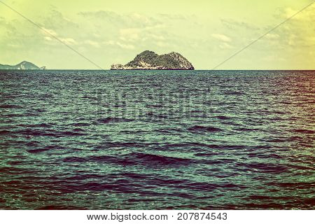 Old picture vintage style of the small island in the sea at Mu Ko Ang Thong National Marine Park Surat Thani province Thailand