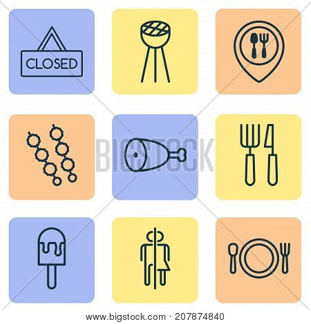 Restaurant Icons Set. Collection Of Fried Poultry, Closed Placard, Sorbet And Other Elements