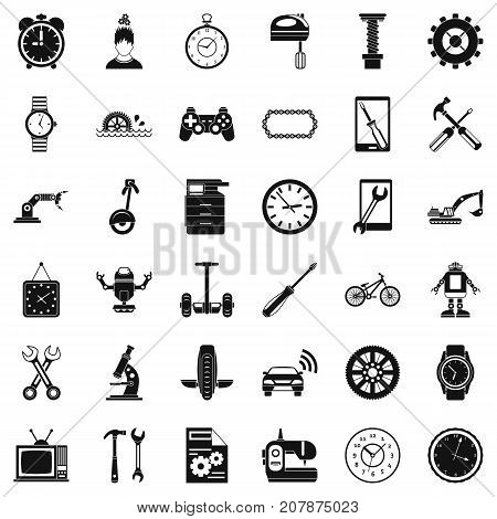 Battery icons set. Simple style of 36 battery vector icons for web isolated on white background
