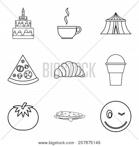 Festive cooking icons set. Outline set of 9 festive cooking vector icons for web isolated on white background