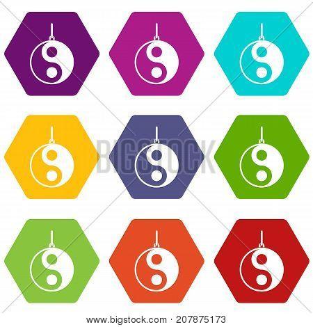 Yin Yang symbol icon set many color hexahedron isolated on white vector illustration