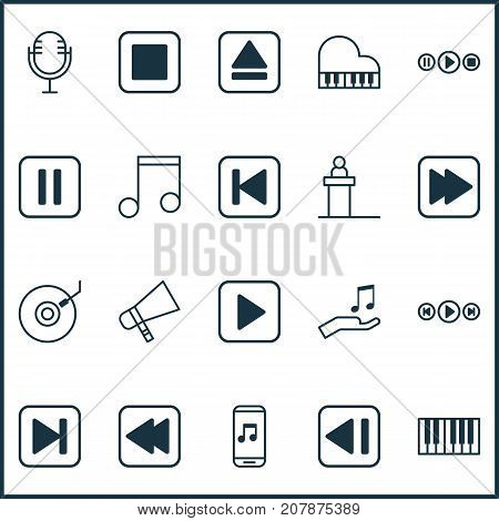 Multimedia Icons Set. Collection Of Rostrum, Piano, Bullhorn And Other Elements